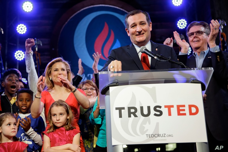 Republican presidential candidate, Sen. Ted Cruz, R-Texas, addresses the crowd during an election night watch party in Stafford, Texas, March 1, 2016.