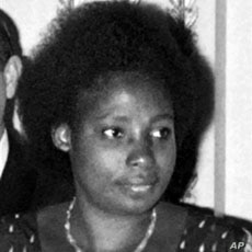 A picture taken on April 14, 1977 shows the wife of Juvenal Habyarimana, Agathe, during an official meeting at the Elysee Palace in Paris. Agathe Kanzinga, widow of Juvenal Habyarimana, has been arrested on March 2, 2010 near Paris after Rwandan auth...
