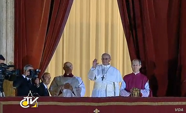 Cardinal Jorge Bergoglio in his first appearance as the new pope, Mar 13, 2013. (Vatican TV)