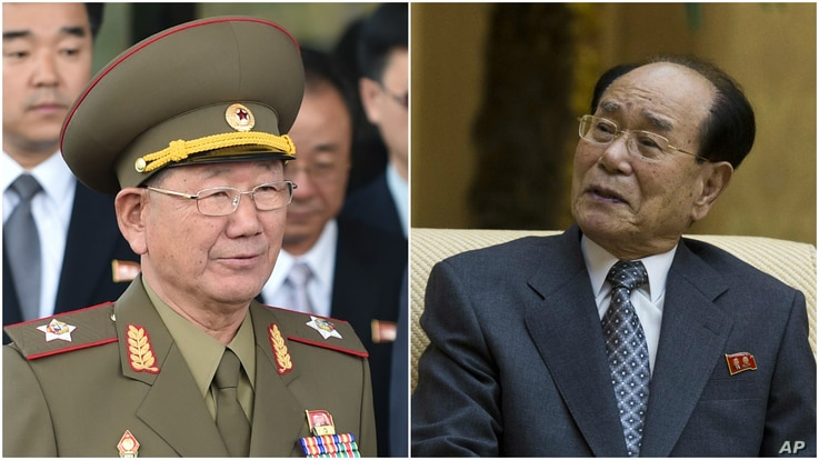 FILE - From left, Hwang Pyong So, vice marshall in the North Korean army and head of its General Political Bureau, and Kim Yong Nam, president of the Presidium of the Supreme People's Assembly and the country's nominal head of state.