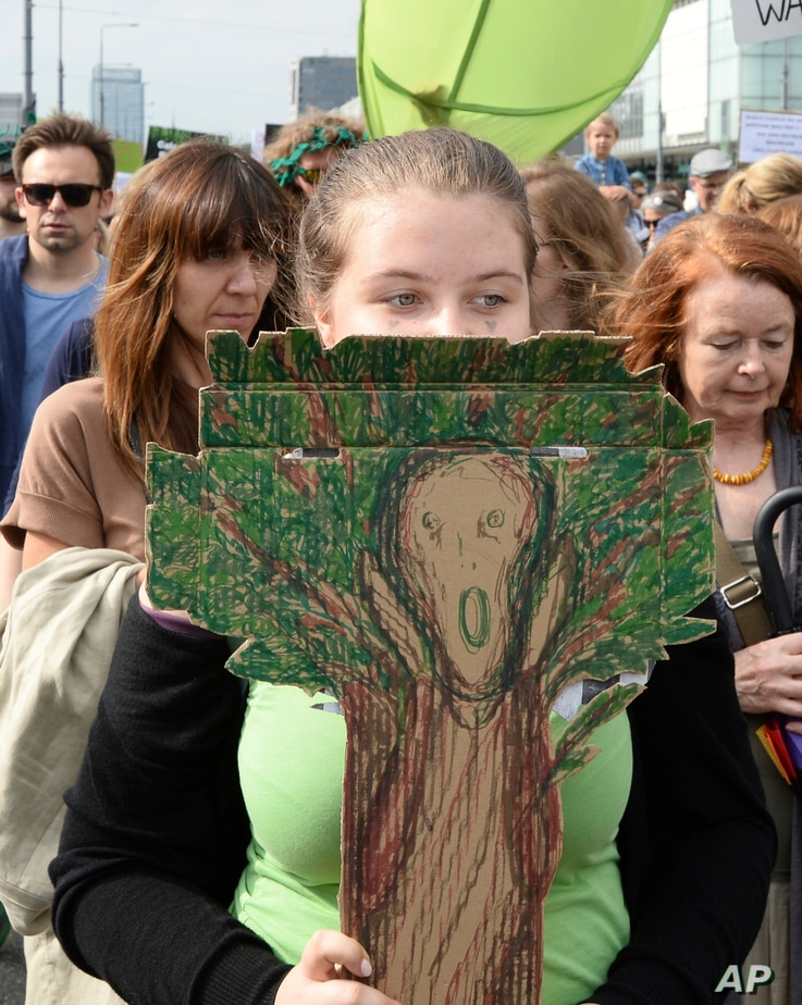 Protesters march demanding a stop to massive logging in the Bialowieza forest, one of Europe's last virgin woodlands, in Warsaw, Poland, June 24, 2017.