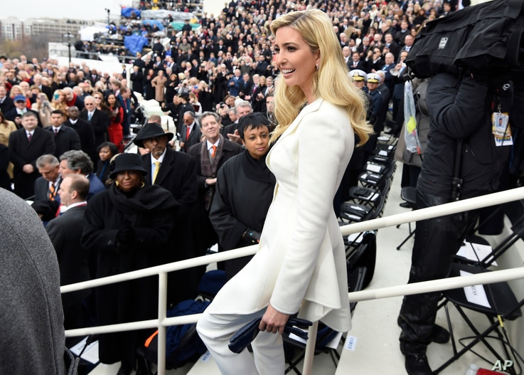 Ivanka Trump arrives on Capitol Hill in Washington, Jan. 20, 2017, for the presidential inauguration of her father Donald Trump.
