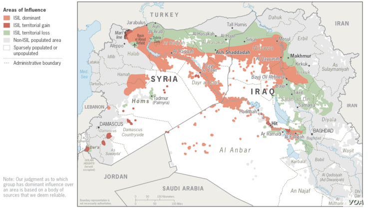 Map: Islamic State Areas of Influence, August 2014 - April 2016