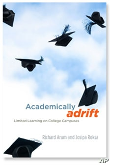 """University of Virginia professors interviewed 2,300 US college undergraduates and reviewed their academic records. The results of their study appear in, """"Academically Adrift: Limited Learning on College Campuses."""""""