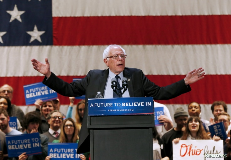 U.S. Democratic presidential candidate Bernie Sanders speaks during a rally in Akron, Ohio, March 14, 2016.