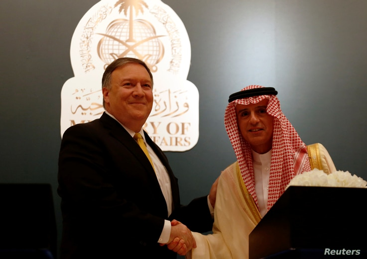 U.S. Secretary of State Mike Pompeo shakes hands with his Saudi counterpart Adel al-Jubeir during a news conference, in Riyadh, Saudi Arabia, Apr. 29, 2018.