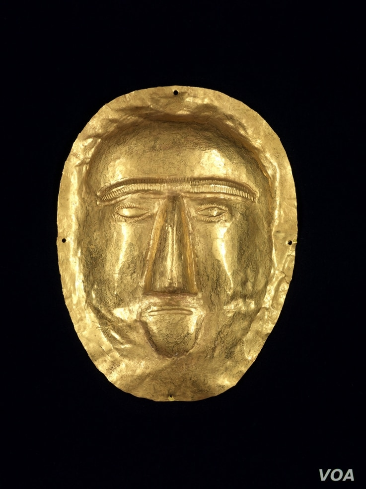 Discovered in a magnificent royal tomb in 1998, this funerary mask from the First Century CE, belonged to a young girl, whose body was covered with gold, rubies, and pearls. (Freer Sackler Galleries/Smithsonian Museum)