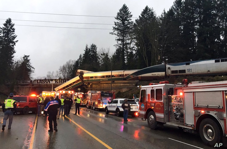 This photo provided by Washington State Patrol shows an Amtrak train that derailed south of Seattle on Dec. 18, 2017.