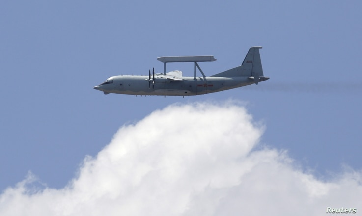A KJ-200 surveillance aircraft of the Chinese Air Force flies during a training session, July 2, 2015.