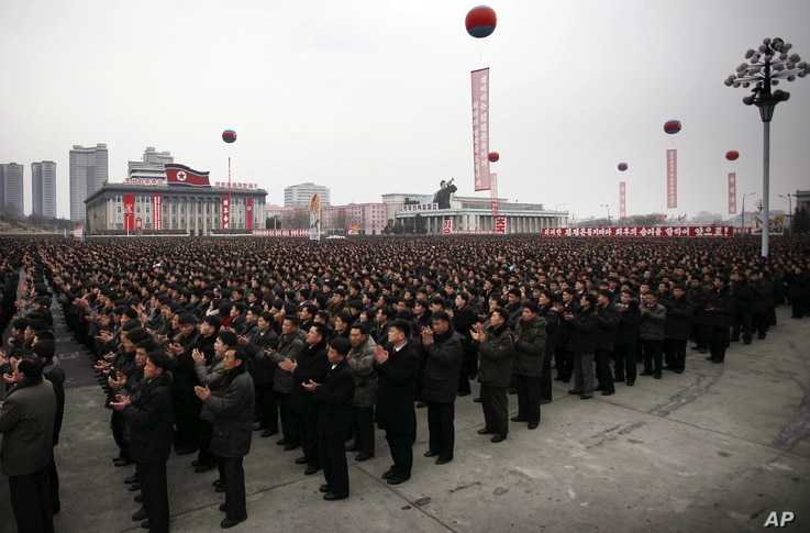 North Koreans gather at the Kim Il Sung Square to celebrate a satellite launch, Feb. 8, 2016, in Pyongyang, North Korea.