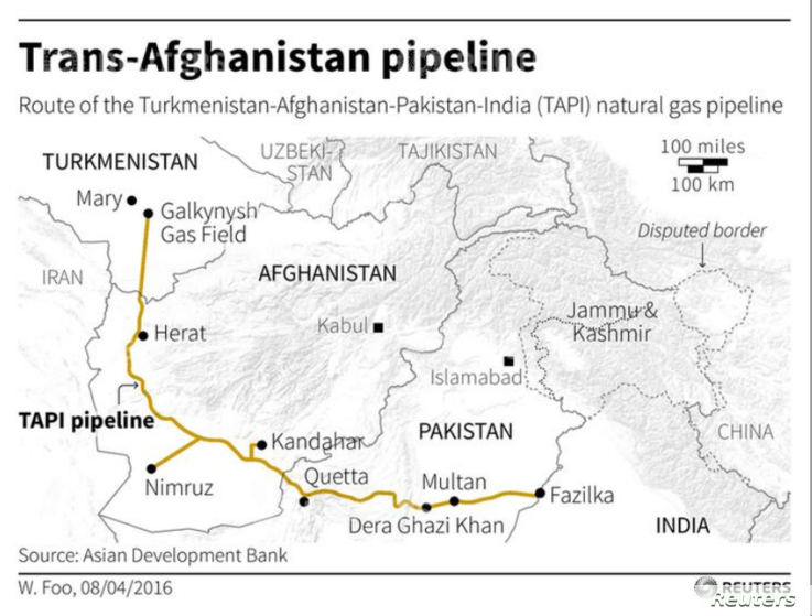Map locating the route of the Turkmenistan-Afghanistan-Pakistan-India (TAPI) natural gas pipeline