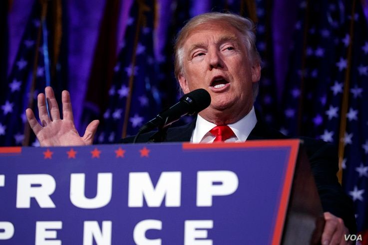 President-elect Donald Trump speaks during an election night rally, Nov. 9, 2016, in New York.