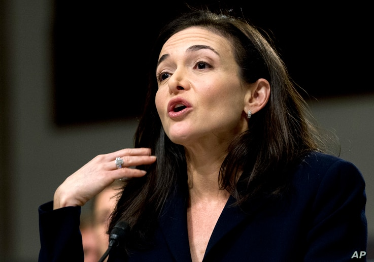 Facebook COO Sheryl Sandberg testifies before the Senate Intelligence Committee hearing on 'Foreign Influence Operations and Their Use of Social Media Platforms' on Capitol Hill, Sept. 5, 2018, in Washington.