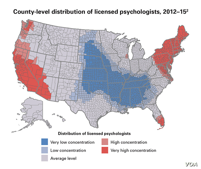 This county-by-county assessment shows where there are already dire shortages of licensed psychologists in the United States. (Graphic: American Psychological Association)