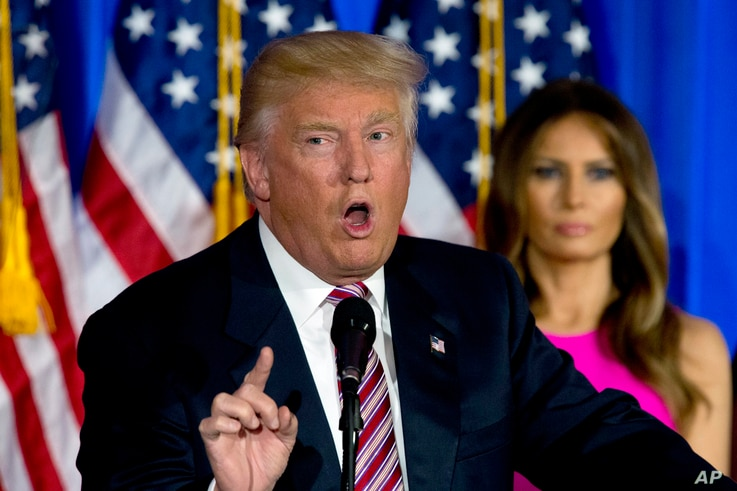 Presumptive Republican presidential nominee Donald Trump speaks during a news conference at the Trump National Golf Club Westchester  in Briarcliff Manor, N.Y., June 7, 2016.