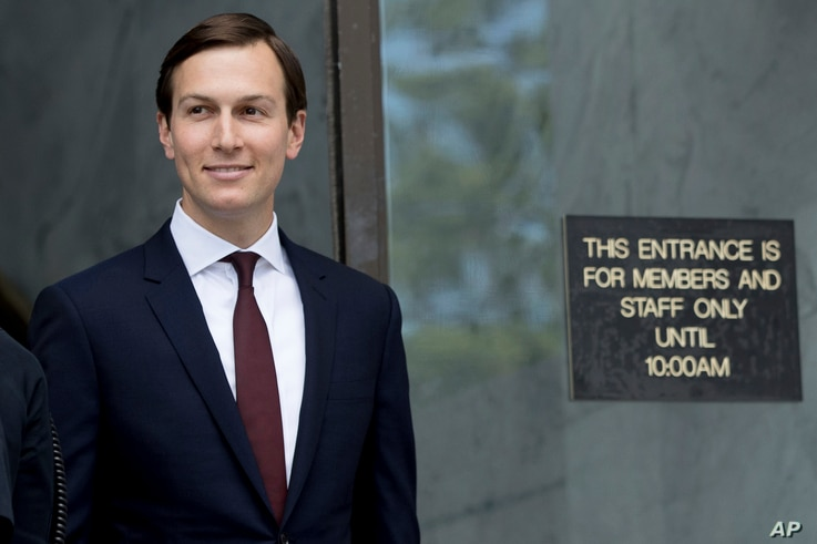 White House senior adviser Jared Kushner departs Capitol Hill in Washington, July 24, 2017, after meeting behind closed doors before the Senate Intelligence Committee on the investigation into possible collusion between Russian officials and the Trum...