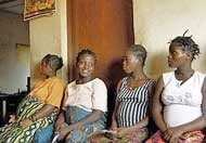 Pregnant women waiting to see nurse at Kroo Bay Community Health Centre in Freetown, Sierra Leone