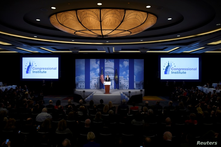 """Britain's Prime Minister Theresa May speaks during the 2017 """"Congress of Tomorrow"""" Joint Republican Issues Conference in Philadelphia, Pennsylvania, Jan. 26, 2017."""