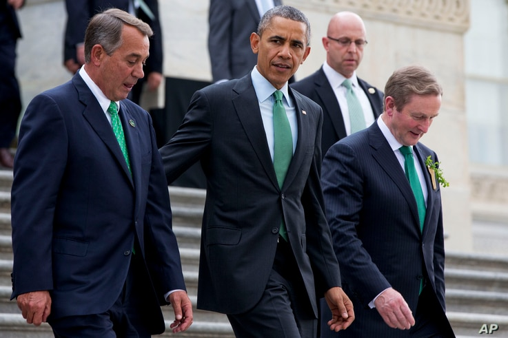 """From left, House Speaker John Boehner of Ohio, President Barack Obama and Irish Prime Minister Enda Kenny leave a """"Friends of Ireland"""" luncheon on Capitol Hill in Washington, March 17, 2015."""