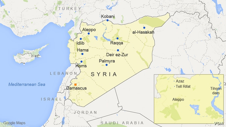 Aleppo and nearby Azaz, Tell Rifat, and Tihsrin dam, in Syria
