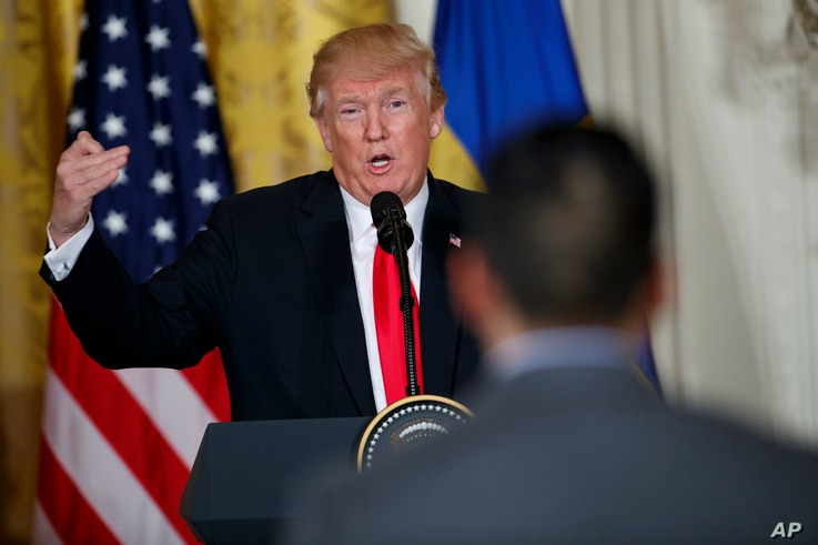 President Donald Trump speaks during a news conference with Swedish Prime Minister Stefan Lofven in the East Room of the White House, March 6, 2018, in Washington.