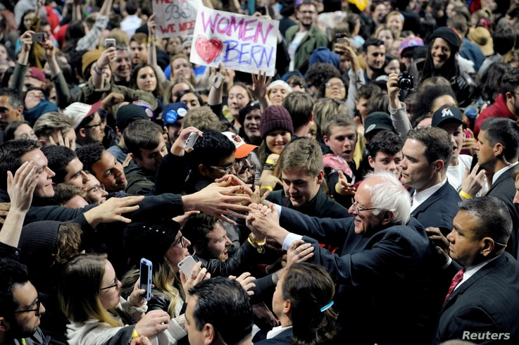 Democratic U.S. presidential candidate Bernie Sanders greets supporters at a campaign rally in Philadelphia, Penn., April 6, 2016.