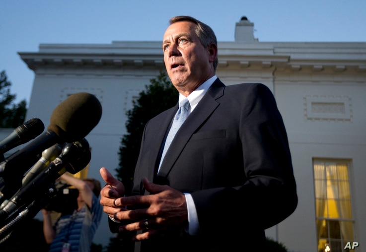 House Speaker John Boehner, R-Ohio, speaks to reporters following a meeting with President Barack Obama at the White House, Oct. 2, 2013.