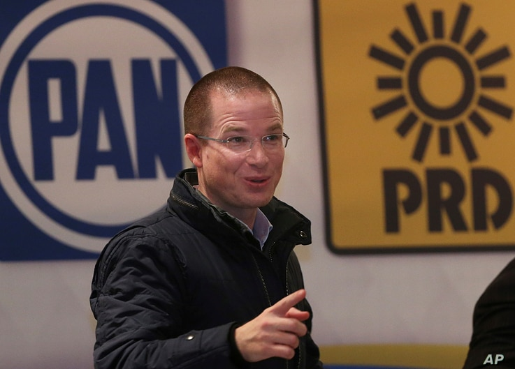 Presidential hopeful Ricardo Anaya, of the National Action Party (PAN) attends a campaign event in Mexico City, Jan. 29, 2018.