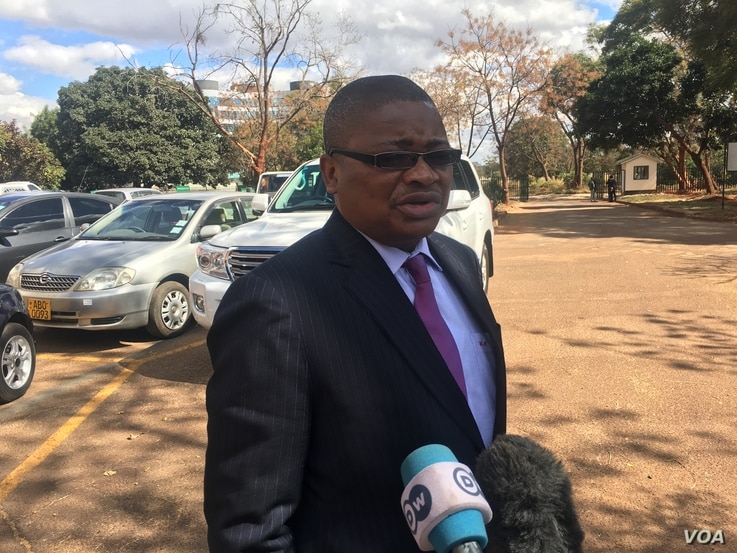 Harrison Nkomo from Zimbabwe Lawyers for Human Rights, who is representing Pastor Evan Mawarire, speaks to reporters in Harare, Zimbabwe, June 28, 2017. (S. Mhofu/VOA)