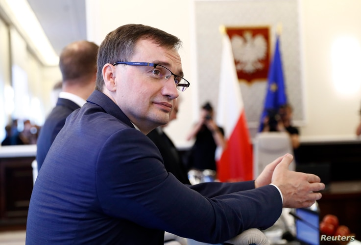 Poland's Minister of Justice Zbigniew Ziobro attends a government meeting in Warsaw,  July 25, 2017.