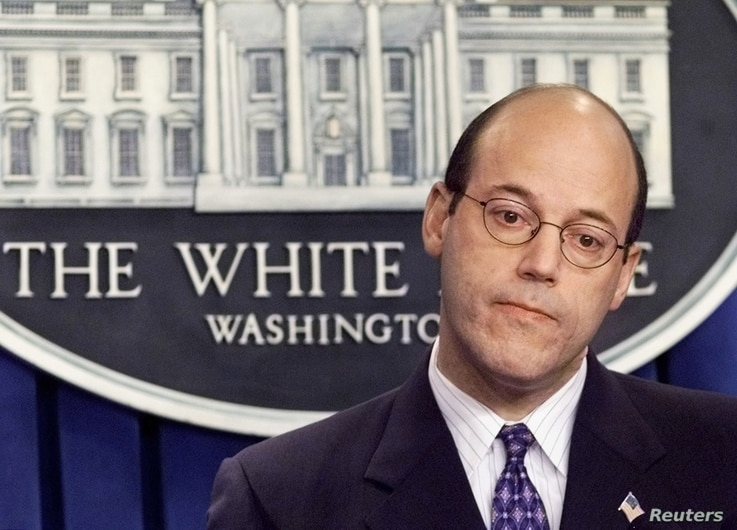 White House Press Secretary Ari Fleischer listens to a question duringa briefing in the Brady Briefing Room at the White House in Washington,April 9, 2003. The United States has identified about 43 Iraqipoliticians - 14 former exiles and about 29 fro...