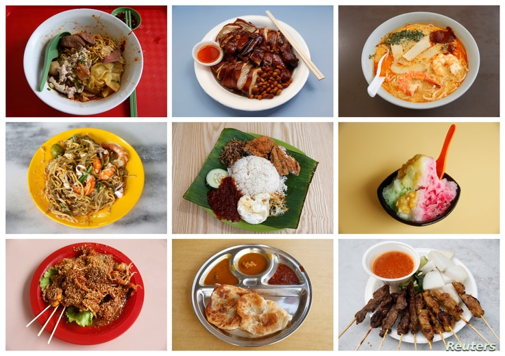 A combination photo shows various popular street foods under $6 from various hawker food stalls and eateries in Singapore, taken between July 28-31, 2016.