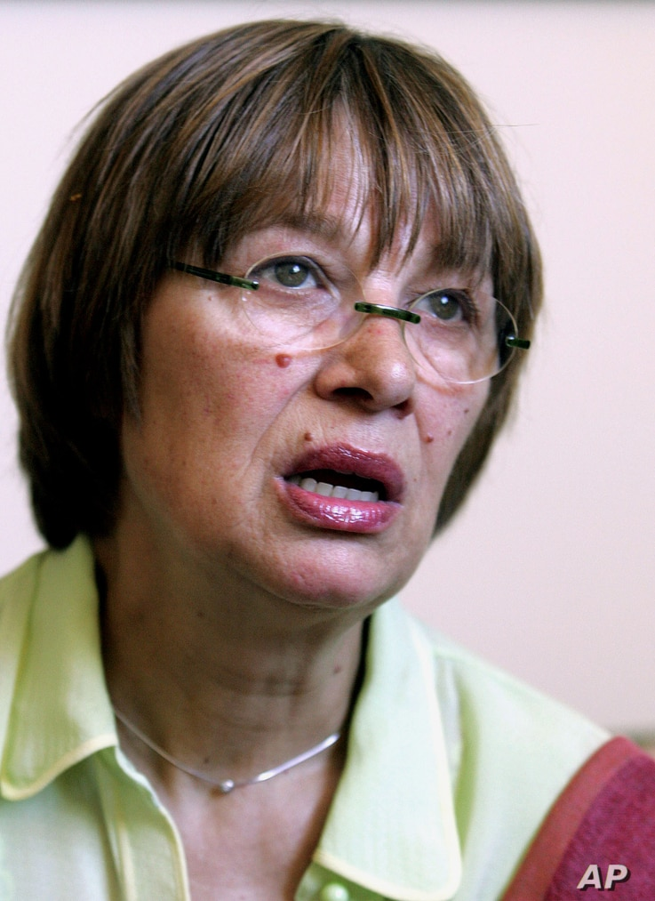 FILE - Human rights activist Natasa Kandic is interviewed by The Associated Press, in Belgrade, June 25, 2005.