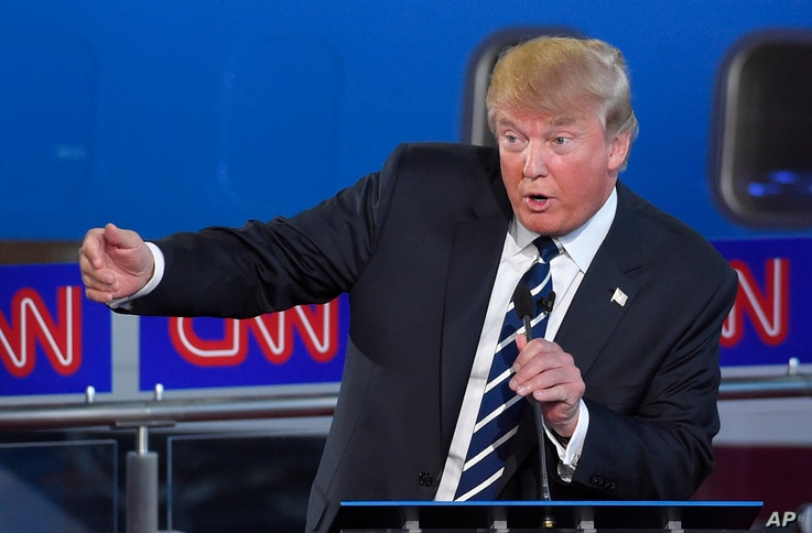 Republican presidential candidate Donald Trump speaks during the CNN Republican presidential debate at the Ronald Reagan Presidential Library and Museum in Simi Valley, Calif., Sept. 16, 2015.