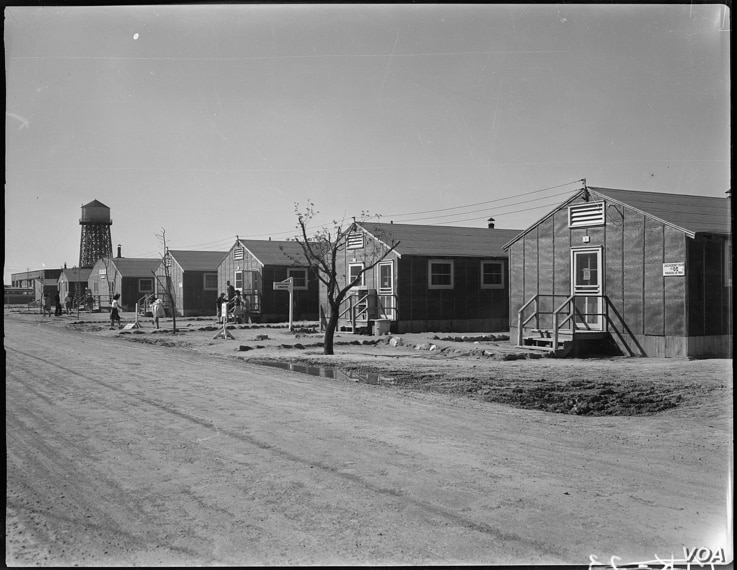 Housing and administration buildings were mainly crude, tar-papered barracks at the Minidoka Relocation Center near Twin Falls, Idaho. (Courtesy of U.S. National Archives)