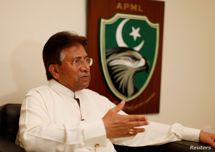Former Pakistani president Pervez Musharraf speaks during an interview with Reuters in Dubai, January 8, 2012 file photo.