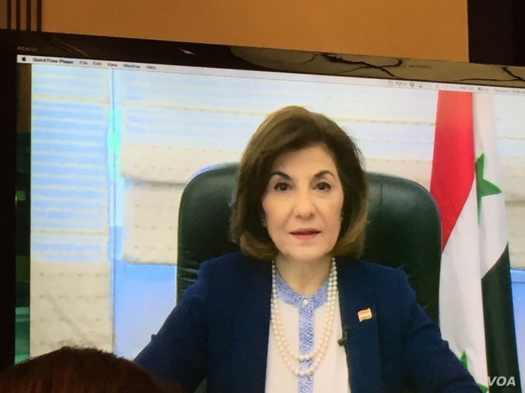 Bouthaina Shaaban, a key adviser to Syrian President Bashar al-Assad, is shown in her recorded video, which aired Thursday at an event at the National Press Club in Washington. (J. Seldin/VOA)