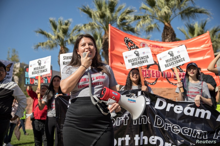 FILE - Melody K., 23, a DACA recipient who was brought to the U.S. when she was 8, speaks during rally in support of a permanent legislative solution for immigrants in Los Angeles, Feb. 3, 2018.