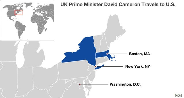 UK Prime Minster David Cameron's stops on his trip to the United States, May 13-15.