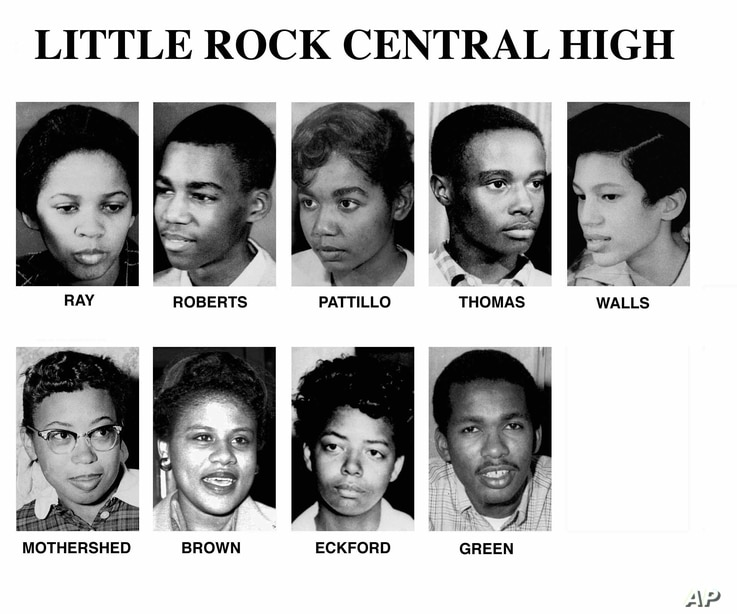Pictured left to right are: Gloria Ray, Terrance Roberts, Melba Pattillo, Jefferson Thomas, Carlotta Walls, Thelma Mothershed, Minnijean Brown, Elizabeth Eckford, and Ernest Green. These are undated photos of the nine students who entered Little Rock...