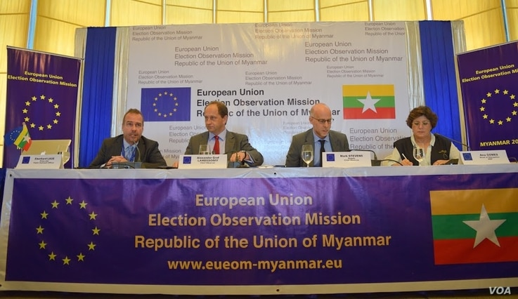 From left, European Union Election Observation Mission members press officer Eberhard Laue, Myanmar chief Alexander Graf Lambsdorff, deputy chief observer Mark Stevens, and head of delegation Ana Gomes speak to reporters in Yangon, Myanmar, Nov. 10, ...