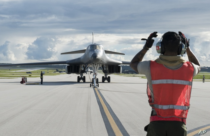A B-1B Lancer arrives at Andersen Air Force Base, Guam, July 26, 2017, in this photo provided by the U.S.Air Force.