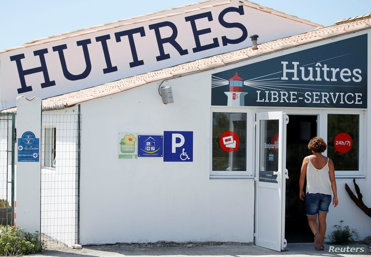 Exterior view of l'huitriere de Re, where automatic oyster vending machine is set, in Ars en Re on the Re Island, Southwestern France, Aug. 2, 2017.