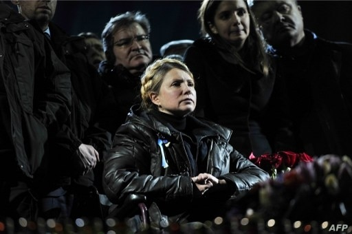 Newly freed Ukrainian opposition icon, former Prime Minister Yulia Tymoshenko looks delivers a speech, Kiev's Independance square, Feb. 22, 2014.