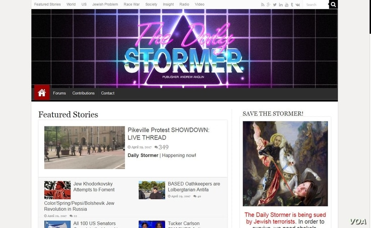 The home page of The Daily Stormer website, on which Andrew Anglin's blog appears. Tanya Gersh and the Southern Poverty Law Center have sued Anglin, alleging online harassment.