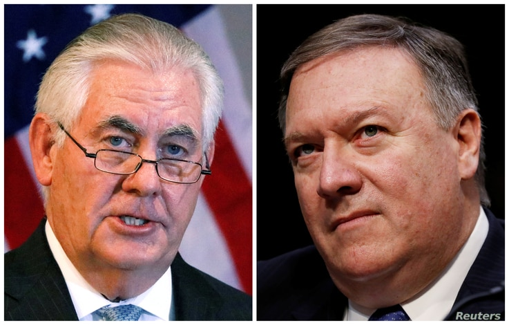 FILE - A combination photo shows U.S. Secretary of State Rex Tillerson (L) in Addis Ababa, Ethiopia, March 8, 2018, and Central Intelligence Agency (CIA) Director Mike Pompeo on Capitol Hill in Washington, Feb. 13, 2018 respectively.