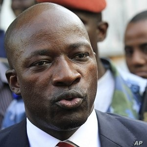 Charles Ble Goude, recently named as the minister of youth and employment in Ivory Coast President Laurent Gbagbo's government, speaks at a news conference in Abidjan, 14 Dec 2010