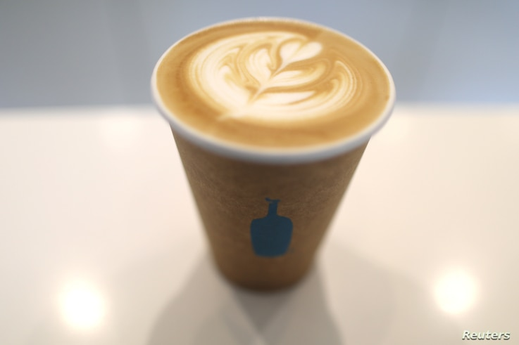 A cup of Blue Bottle coffee is seen in Los Angeles, California, Sept. 14, 2017.