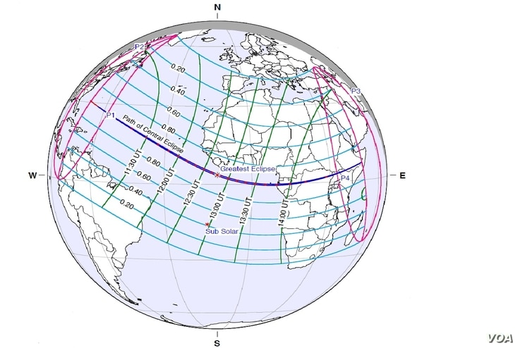 The path of the solar eclipse of Nov. 3, 2013.