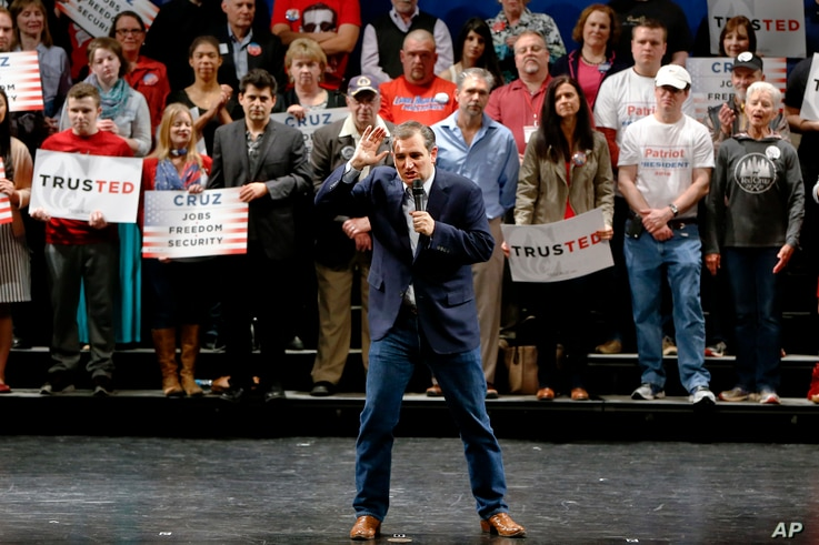 Republican presidential candidate Sen. Ted Cruz of Texas speaks at a campaign rally at Gateway High School in Monroeville, Pa., April 23, 2016.
